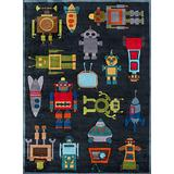 Momeni Rugs Lil' Mo Whimsy Collection, Kids Themed Hand Carved & Tufted Area Rug, 3' x 5', Robots Steel Blue