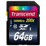 Transcend 64GB SDXC Class 10 Flash Memory Card Up to 30MB/s (TS64GSDXC10)