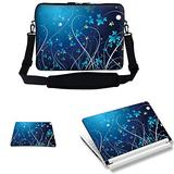 Meffort Inc 15 15.6 inch Laptop Carrying Sleeve Bag Case with Hidden Handle & Adjustable Shoulder Strap with Matching Skin Sticker and Mouse Pad Combo - Blue Mini Flower Swirl