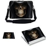 Meffort Inc 15 15.6 inch Laptop Carrying Sleeve Bag Case with Hidden Handle & Adjustable Shoulder Strap with Matching Skin Sticker and Mouse Pad Combo - Dark Skull