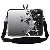 Meffort Inc 15 15.6 inch Neoprene Laptop Sleeve Bag Carrying Case with Hidden Handle and Adjustable Shoulder Strap - Gray Black Swirl Design