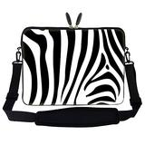 Meffort Inc 15 15.6 inch Neoprene Laptop Sleeve Bag Carrying Case with Hidden Handle and Adjustable Shoulder Strap - Zebra Stripe