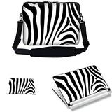 Meffort Inc 15 15.6 inch Laptop Carrying Sleeve Bag Case with Hidden Handle & Adjustable Shoulder Strap with Matching Skin Sticker and Mouse Pad Combo - Zebra Prints