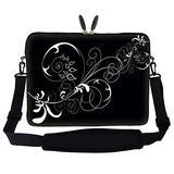 Neoprene Laptop Sleeve Bag with Hidden Handle & Adjustable Shoulder Strap for 15 15.6 inch Notebook - White Swirl Design