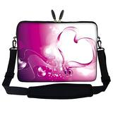 Meffort Inc 15 15.6 inch Neoprene Laptop Sleeve Bag Carrying Case with Hidden Handle and Adjustable Shoulder Strap - Pink Heart