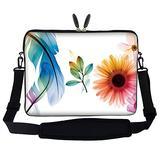 Meffort Inc 15 15.6 inch Neoprene Laptop Sleeve Bag Carrying Case with Hidden Handle and Adjustable Shoulder Strap - White Flower Leaves