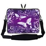 Meffort Inc 15 15.6 inch Neoprene Laptop Sleeve Bag Carrying Case with Hidden Handle and Adjustable Shoulder Strap - Purple Butterflies