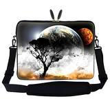 Meffort Inc 15 15.6 inch Neoprene Laptop Sleeve Bag Carrying Case with Hidden Handle and Adjustable Shoulder Strap - Planet View