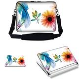 Meffort Inc 15 15.6 inch Laptop Carrying Sleeve Bag Case with Hidden Handle & Adjustable Shoulder Strap with Matching Skin Sticker and Mouse Pad Combo - White Flower Leaves