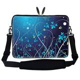 Meffort Inc 15 15.6 inch Neoprene Laptop Sleeve Bag Carrying Case with Hidden Handle and Adjustable Shoulder Strap - Blue Mini Flower Swirl