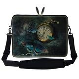 Meffort Inc 15 15.6 inch Neoprene Laptop Sleeve Bag Carrying Case with Hidden Handle and Adjustable Shoulder Strap - Clock Butterfly
