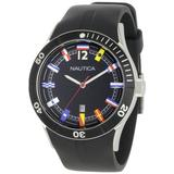 Nautica Men's N13519G NSR Date Flag Sporty Black Resin Strap Watch
