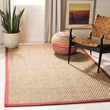 Safavieh Natural Fiber Collection NF114D Border Basketweave Seagrass Area Rug, 3' x 5', Red