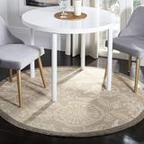 """Safavieh Chelsea Collection HK156A Hand-Hooked French Country Wool Area Rug, 5'6"""" x 5'6"""" Round, Light Brown"""