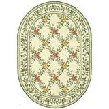 """Safavieh Chelsea Collection HK60A Hand-Hooked French Country Wool Area Rug, 4'6"""" x 6'6"""" Oval, Ivory"""