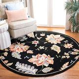 Safavieh Chelsea Collection HK306B Hand-Hooked French Country Wool Area Rug, 4' x 4' Round, Black