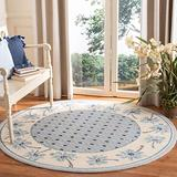 Safavieh Chelsea Collection HK724A Hand-Hooked French Country Wool Area Rug, 3' x 3' Round, Blue / Ivory