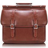 "Siamod, Manarola, SIGNORINI, Oil Pull-Up Leather, 15"" Leather Double Compartment Laptop Briefcase, Cognac (25594)"