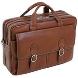 """McKlein, S Series, Kenwood, Pebble Grain Calfskin Leather, 15"""" Leather Double Compartment Laptop Briefcase, Brown (15564)"""