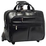 """McKlein, R Series, Ohare, Top Grain Cowhide Leather, 15.6"""" Leather Fly-Through Checkpoint-Friendly Patented Detachable Wheeled Laptop Briefcase, Black (86535)"""