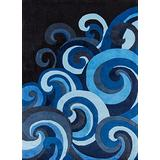 Momeni Rugs Lil' Mo Hipster Collection, Kids Themed Hand Carved & Tufted Area Rug, 3' x 5', Surf Blue