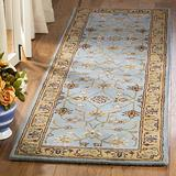 """Safavieh Heritage Collection HG958A Handmade Traditional Oriental Premium Wool Runner, 2'3"""" x 20' , Blue / Gold"""