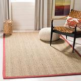 Safavieh Natural Fiber Collection NF115D Border Herringbone Seagrass Area Rug, 5' x 8', Red