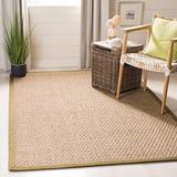 Safavieh Natural Fiber Collection NF114G Border Basketweave Seagrass Area Rug, 6' x 6' Square, Olive