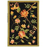 """Safavieh Chelsea Collection HK263B Hand-Hooked French Country Wool Accent Rug, 1'8"""" x 2'6"""", Black"""