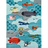 Momeni Rugs Lil' Mo Whimsy Collection, Kids Themed Hand Carved & Tufted Area Rug, 3' x 5', Sky Blue