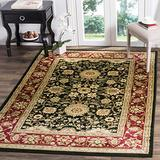 """Safavieh Lyndhurst Collection LNH212G Traditional Oriental Non-Shedding Stain Resistant Living Room Bedroom Area Rug, 3'3"""" x 5'3"""", Black / Red"""