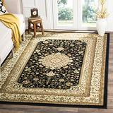 """Safavieh Lyndhurst Collection LNH213A Traditional Oriental Non-Shedding Stain Resistant Living Room Bedroom Area Rug, 5'3"""" x 7'6"""", Black / Ivory"""