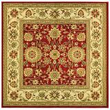Safavieh Lyndhurst Collection LNH212F Traditional Oriental Non-Shedding Stain Resistant Living Room Bedroom Area Rug, 6' x 6' Square, Red / Ivory