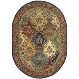 "Safavieh Heritage Collection HG911A Handmade Traditional Oriental Premium Wool Area Rug, 4'6"" x 6'6"" Oval, Multi / Burgundy"