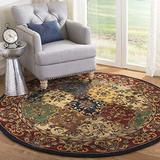 "Safavieh Heritage Collection HG911A Handmade Traditional Oriental Premium Wool Area Rug, 3'6"" x 3'6"" Round, Multi / Burgundy"