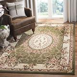 """Safavieh Lyndhurst Collection LNH328B Traditional European Medallion Non-Shedding Stain Resistant Living Room Bedroom Area Rug, 5'3"""" x 7'6"""", Sage / Ivory"""