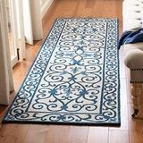 """Safavieh Chelsea Collection HK11I Hand-Hooked French Country Wool Runner, 2'6"""" x 6' , Ivory / Dark Blue"""