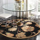 """Safavieh Chelsea Collection HK209C Hand-Hooked French Country Wool Area Rug, 5'6"""" x 5'6"""" Round, Black / Orange"""