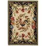 """Safavieh Chelsea Collection HK92A Hand-Hooked French Country Wool Accent Rug, 1'8"""" x 2'6"""", Cream / Black"""