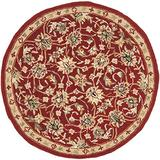 Safavieh Chelsea Collection HK78B Hand-Hooked French Country Wool Area Rug, 3' x 3' Round, Burgundy / Ivory