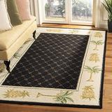 Safavieh Chelsea Collection HK362C Hand-Hooked French Country Wool Area Rug, 6' x 9', Black / Ivory