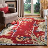 Safavieh Chelsea Collection HK56C Hand-Hooked French Country Wool Area Rug, 6' x 9', Burgundy