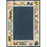Momeni Rugs Lil' Mo Classic Collection, Kids Themed 100% Cotton Hand Hooked Area Rug, 5' x 7', Blue