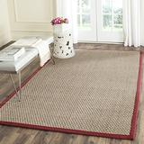 Safavieh Natural Fiber Collection NF114D Border Basketweave Seagrass Area Rug, 8' x 8' Square, Red
