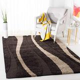 SAFAVIEH Florida Shag Collection SG451 Abstract Stripe Non-Shedding Living Room Bedroom Dining Room Entryway Plush 1.2-inch Thick Area Rug, 8' x 10', Dark Brown / Beige