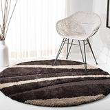 """SAFAVIEH Florida Shag Collection SG451 Abstract Stripe Non-Shedding Living Room Bedroom Dining Room Entryway Plush 1.2-inch Thick Area Rug, 6'7"""" x 6'7"""" Round, Dark Brown / Beige"""