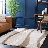 """SAFAVIEH Florida Shag Collection SG451 Abstract Stripe Non-Shedding Living Room Bedroom Dining Room Entryway Plush 1.2-inch Thick Area Rug, 3'3"""" x 5'3"""", Cream / Dark Brown"""