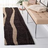 """SAFAVIEH Florida Shag Collection SG451 Abstract Stripe Non-Shedding Living Room Bedroom Dining Room Entryway Plush 1.2-inch Thick Runner, 2'3"""" x 7' , Dark Brown / Beige"""