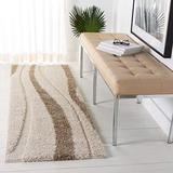 """SAFAVIEH Florida Shag Collection SG451 Abstract Stripe Non-Shedding Living Room Bedroom Dining Room Entryway Plush 1.2-inch Thick Runner, 2'3"""" x 7' , Cream / Dark Brown"""