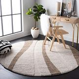 """SAFAVIEH Florida Shag Collection SG451 Abstract Stripe Non-Shedding Living Room Bedroom Dining Room Entryway Plush 1.2-inch Thick Area Rug, 6'7"""" x 6'7"""" Round, Cream / Dark Brown"""